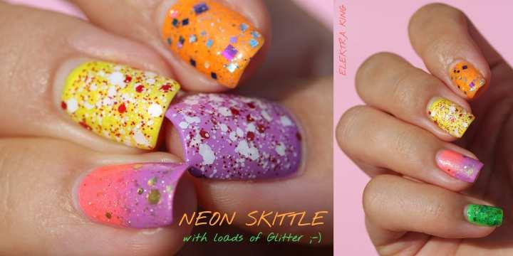 Neon Skittle summer manicure