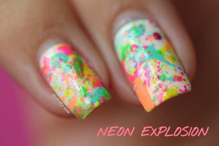 neon splatter manicure