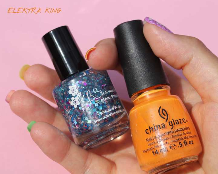 China Glaze Orange You Hot? KBShimmer Squared Away