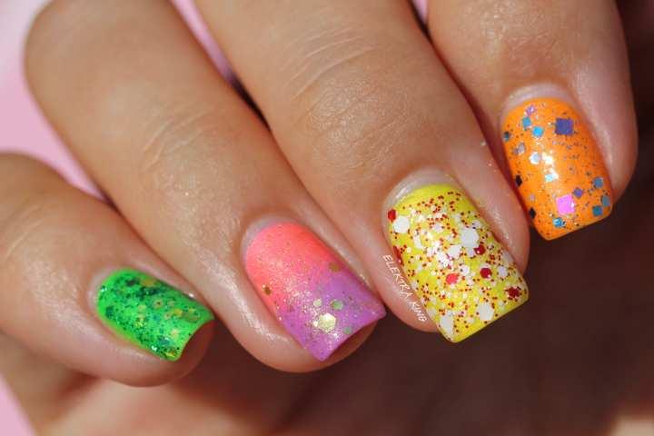 Neon Skittle manicure