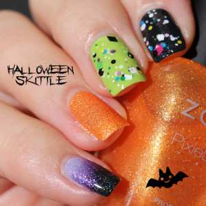 Halloween Skittle Manicure Girly bits Jini Goes Indie