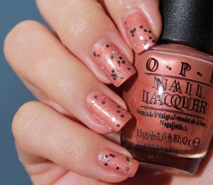 OPI Pink Yet Lavender over OPI Hands Off My Kielbasa
