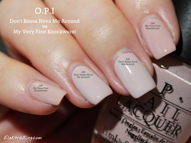 OPI Don't Bossa Nova Me Around vs OPI My Very First Knockwurst