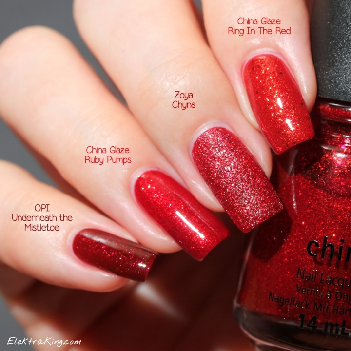 Holiday Red Glitter Polishes