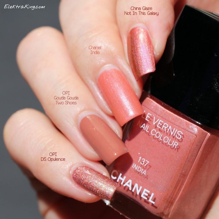OPI Gouda Gouda Two Shoes, OPI DS Opulence, China Glaze Not In This Galaxy, Chanel India