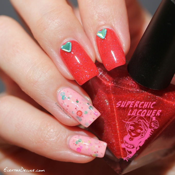 Valentine's Day Manicure with SuperChic Lacquer Ice Rageous, KBShimmer Merry Pinkmas