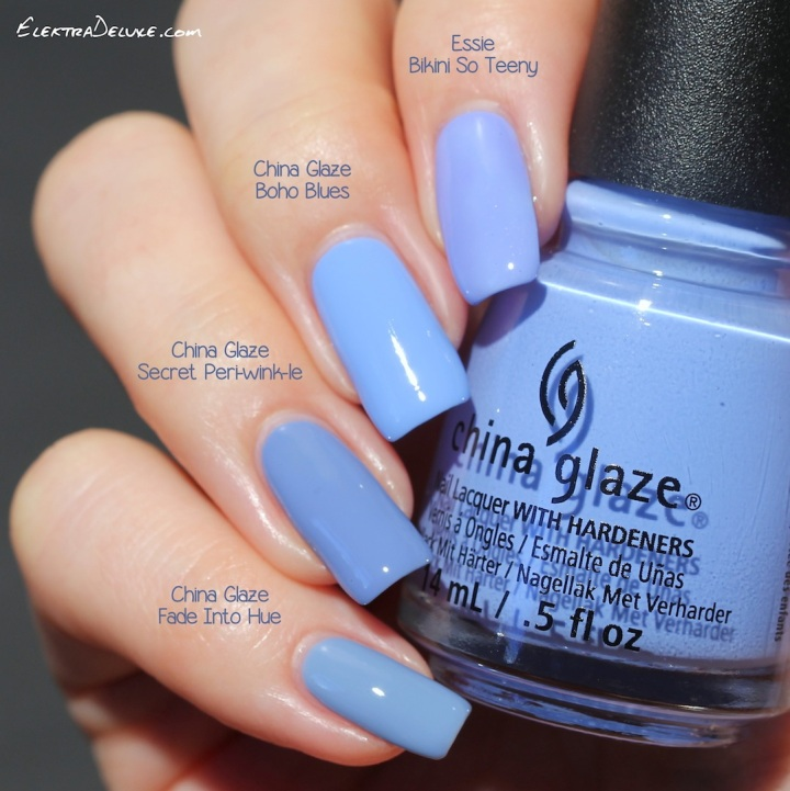 Essie Bikini So Teeny, China Glaze Boho Blues, China Glaze Secret Peri-wink-le, China Glaze Fade Into Hue