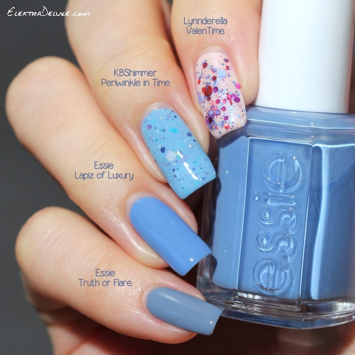 Lynnderella ValenTime, KBShimmer Periwinkle in Time, Essie Lapiz of Luxury, Essie Truth or Flare