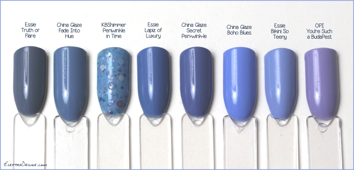 Essie Truth or Flare, China Glaze Fade Into Hue, KBShimmer Periwinkle in Time, Essie Lapiz of Luxury, China Glaze Secret Peri-wink-le, China Glaze Boho Blues, Essie Bikini So Teeny, OPI You're Such A BudaPest