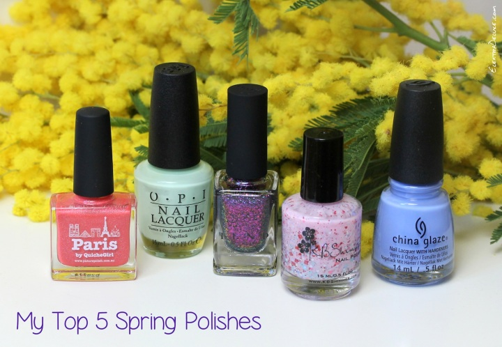China Glaze Boho Blues, OPI That's Hula-rious!, Picture Polish Paris, KBShimmer Sweet Egg-scape, ILNP Luna
