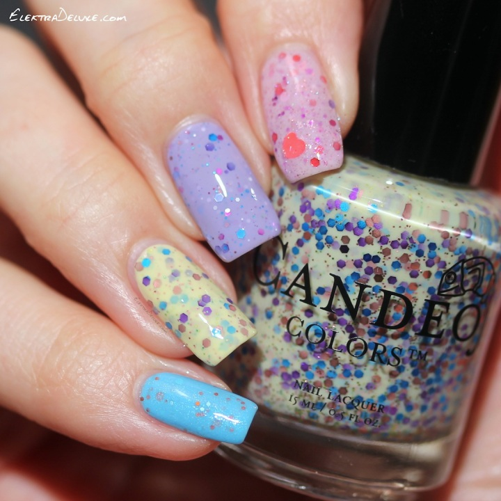 Pastel Glitter Crelly Skittle: KBShimmer Iris My Case, KBShimmer Full Bloom Ahead, Lynnderella Coup de Coeur, Candeo Colors Jellybean, SuperChic Lacquer I Can Fly