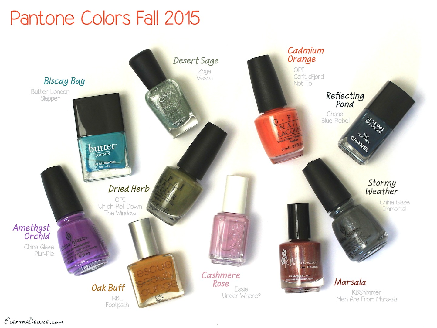 Pantone Colors Fall 2015 – Nail Polish Edition – Elektra Deluxe